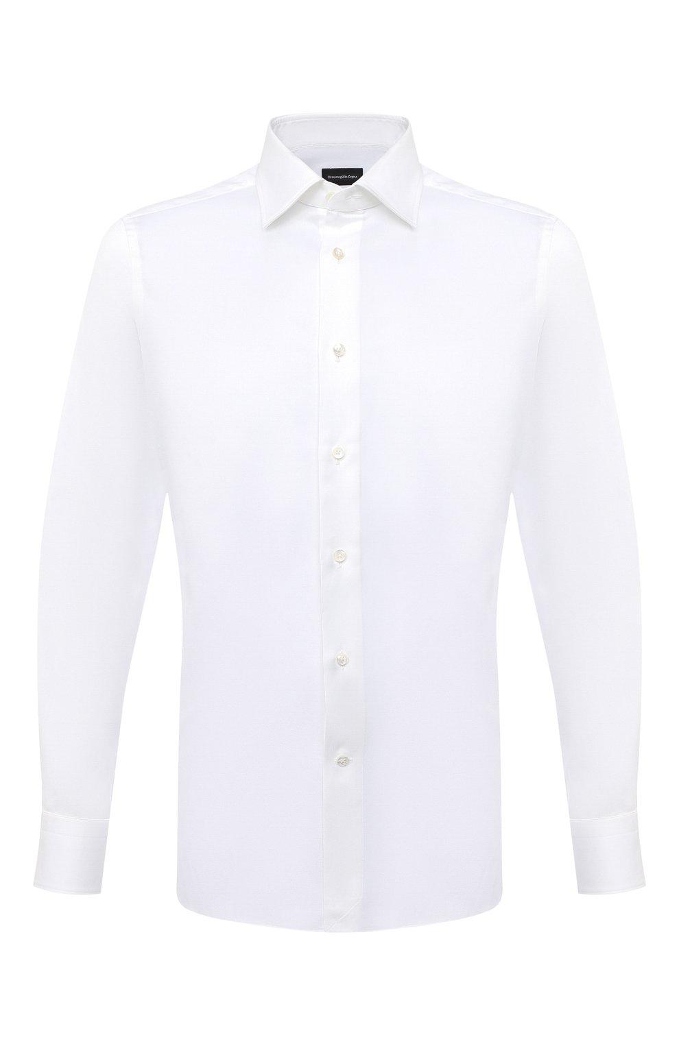 Мужская хлопковая сорочка ERMENEGILDO ZEGNA белого цвета, арт. 804004/9MS0PA | Фото 1