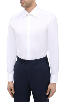 Мужская хлопковая сорочка ERMENEGILDO ZEGNA белого цвета, арт. 804004/9MS0PA | Фото 3