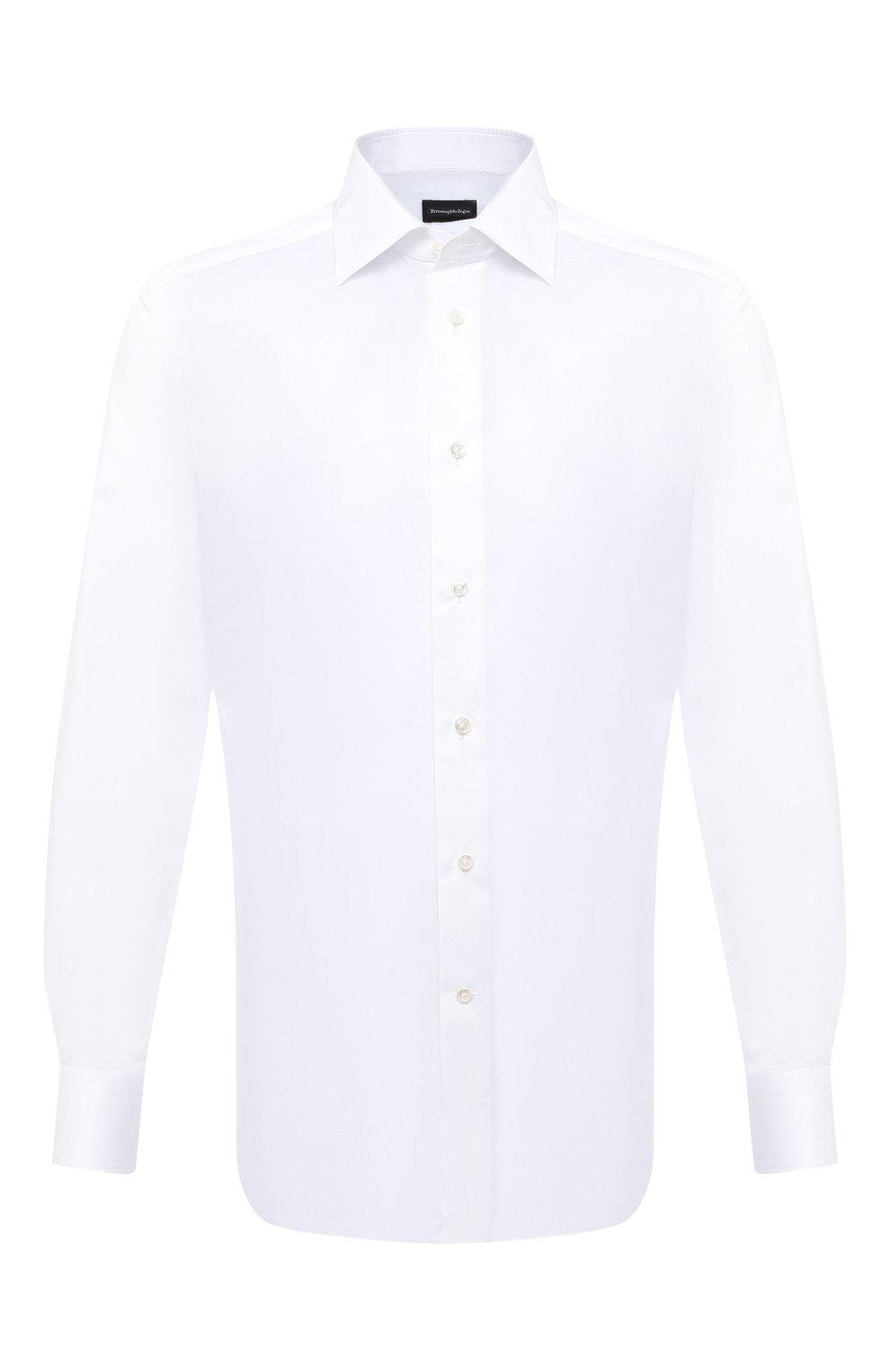 Мужская хлопковая сорочка ERMENEGILDO ZEGNA белого цвета, арт. 801222/9RS0BR   Фото 1