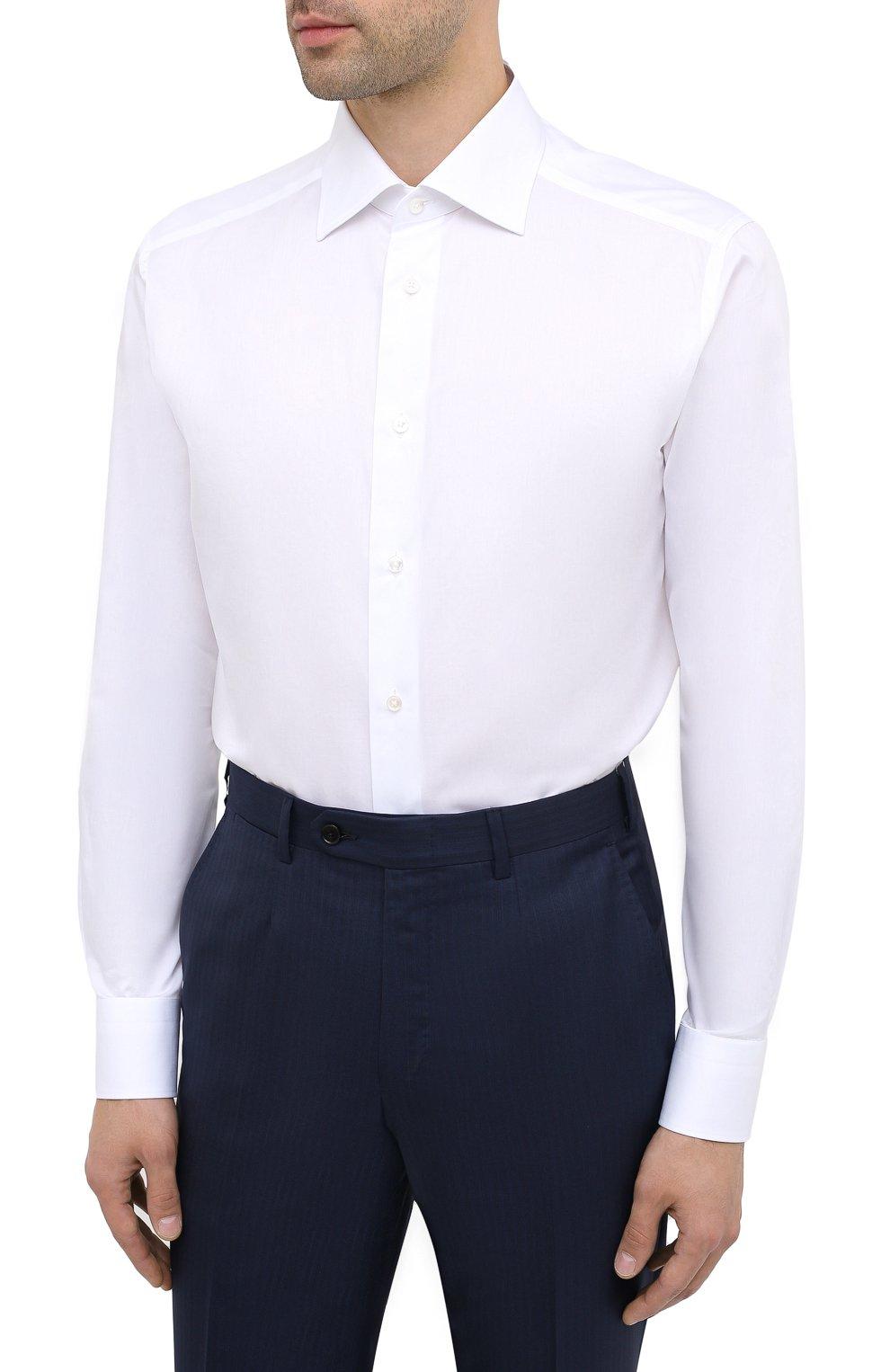 Мужская хлопковая сорочка ERMENEGILDO ZEGNA белого цвета, арт. 801222/9RS0BR   Фото 3