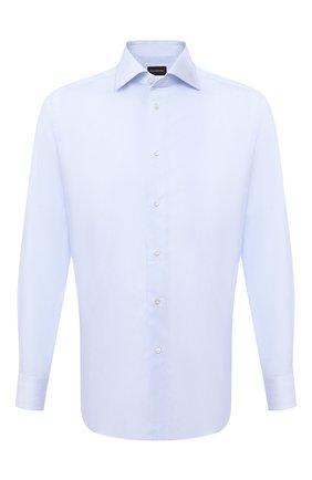 Мужская хлопковая сорочка ERMENEGILDO ZEGNA голубого цвета, арт. 801214/9RS0BR | Фото 1