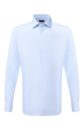 Мужская хлопковая сорочка ERMENEGILDO ZEGNA голубого цвета, арт. 801212/9RS0BR | Фото 1