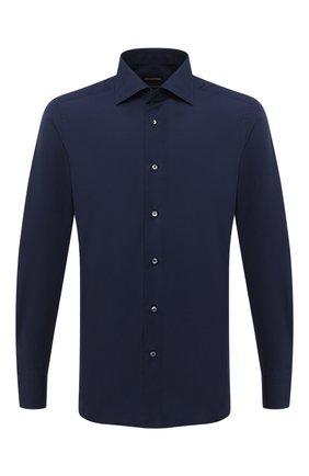 Мужская хлопковая сорочка ERMENEGILDO ZEGNA темно-синего цвета, арт. 801065/9MS0BR | Фото 1