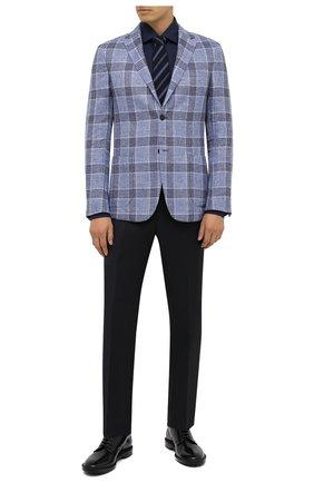 Мужская хлопковая сорочка ERMENEGILDO ZEGNA темно-синего цвета, арт. 801065/9MS0BR | Фото 2