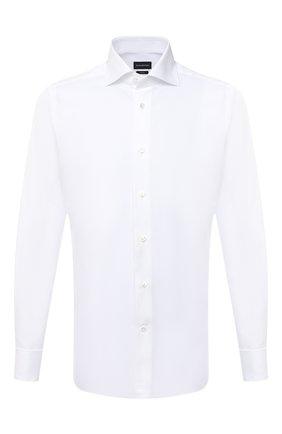 Мужская хлопковая сорочка ERMENEGILDO ZEGNA белого цвета, арт. 801031/9MS4BA | Фото 1