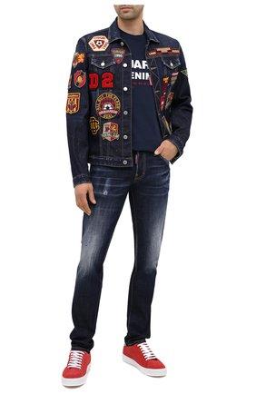 Мужская хлопковая футболка DSQUARED2 темно-синего цвета, арт. S74GD0729/S21600 | Фото 2