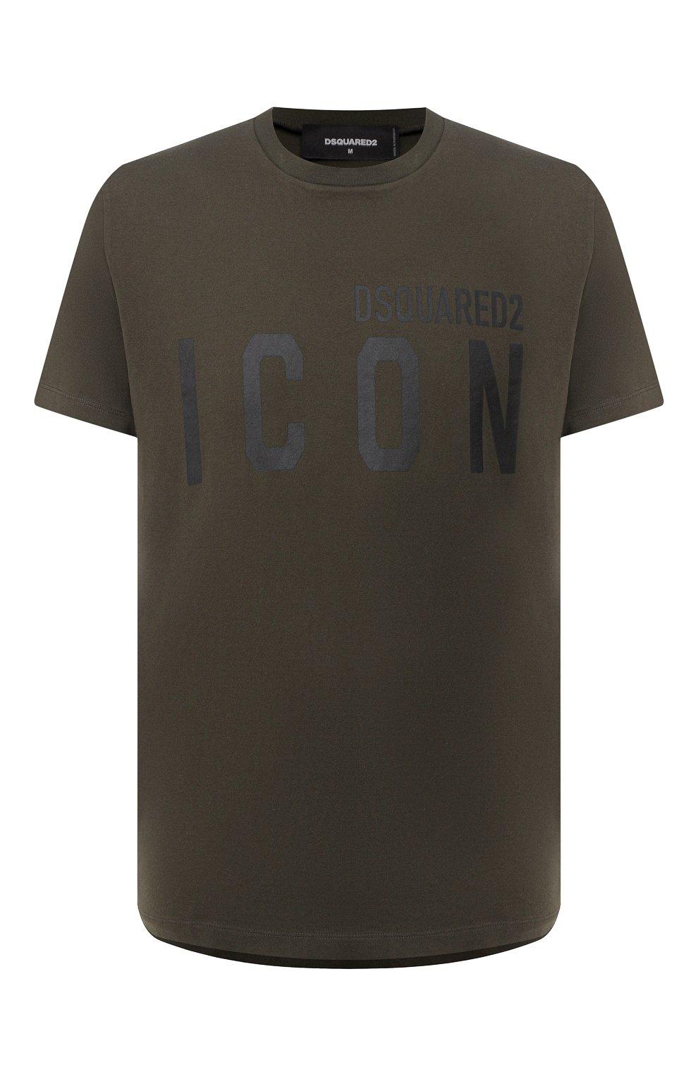 Мужская хлопковая футболка DSQUARED2 хаки цвета, арт. S79GC0003/S23009 | Фото 1