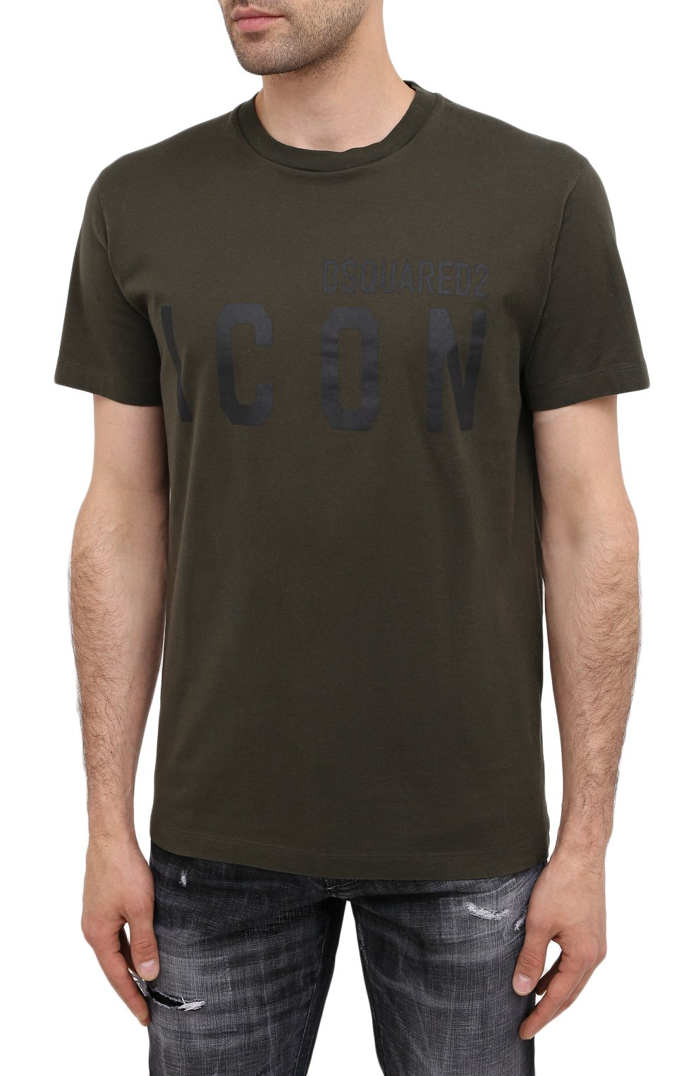Мужская хлопковая футболка DSQUARED2 хаки цвета, арт. S79GC0003/S23009 | Фото 3
