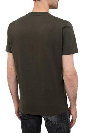 Мужская хлопковая футболка DSQUARED2 хаки цвета, арт. S79GC0003/S23009 | Фото 4