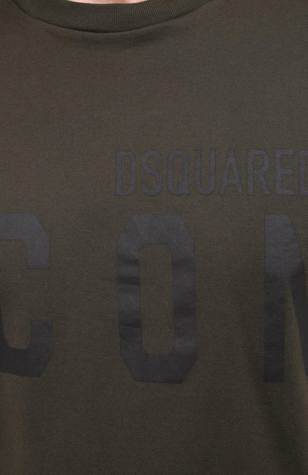 Мужская хлопковая футболка DSQUARED2 хаки цвета, арт. S79GC0003/S23009 | Фото 5