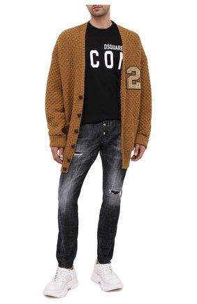 Мужская хлопковая футболка DSQUARED2 черного цвета, арт. S79GC0003/S23009 | Фото 2