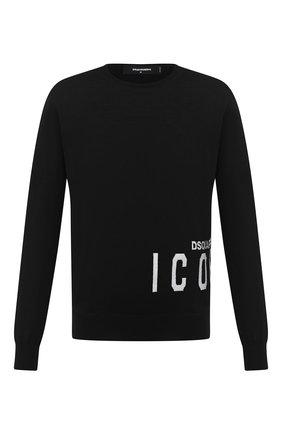 Мужской шерстяной джемпер DSQUARED2 черно-белого цвета, арт. S79HA0003/S17435 | Фото 1