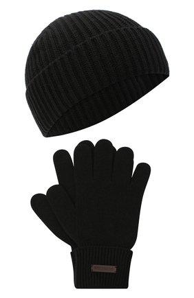 Мужская комплект из шапки и перчаток DSQUARED2 черного цвета, арт. KNM0048 05M02252 | Фото 1