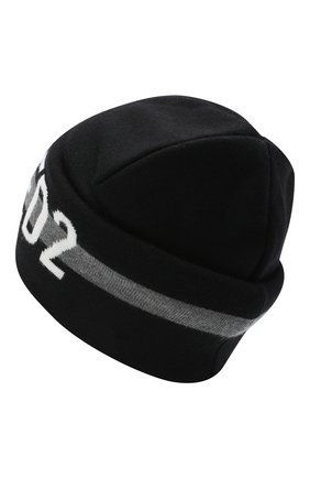 Мужская шерстяная шапка DSQUARED2 черного цвета, арт. KNM0002 01W03174 | Фото 2