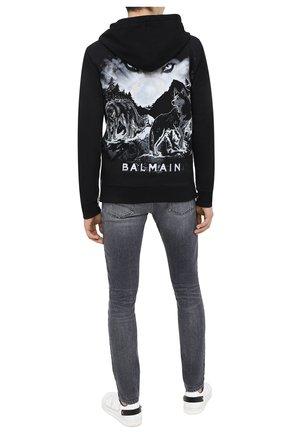 Мужская хлопковая толстовка BALMAIN черного цвета, арт. UH13249/I307 | Фото 2