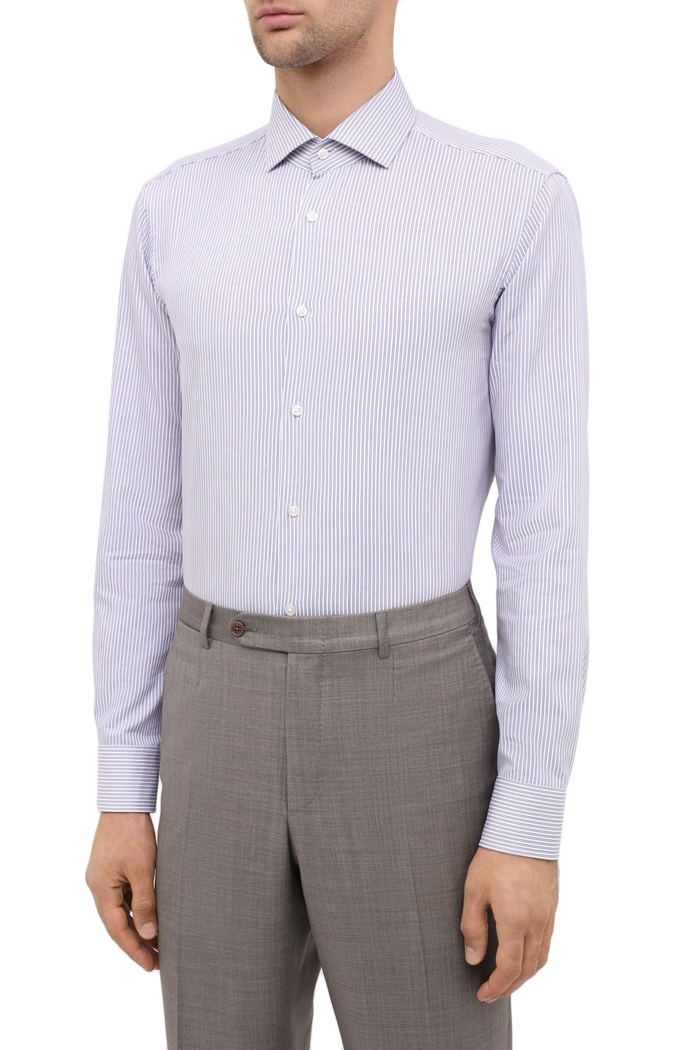Мужская сорочка BOSS сиреневого цвета, арт. 50440215 | Фото 3