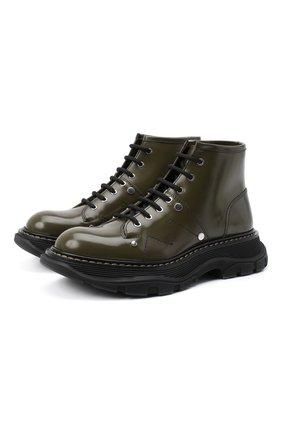Женские кожаные ботинки ALEXANDER MCQUEEN хаки цвета, арт. 595469/WHQS1 | Фото 1 (Материал внутренний: Натуральная кожа; Материал внешний: Кожа; Подошва: Платформа; Женское Кросс-КТ: Военные ботинки; Каблук высота: Низкий)