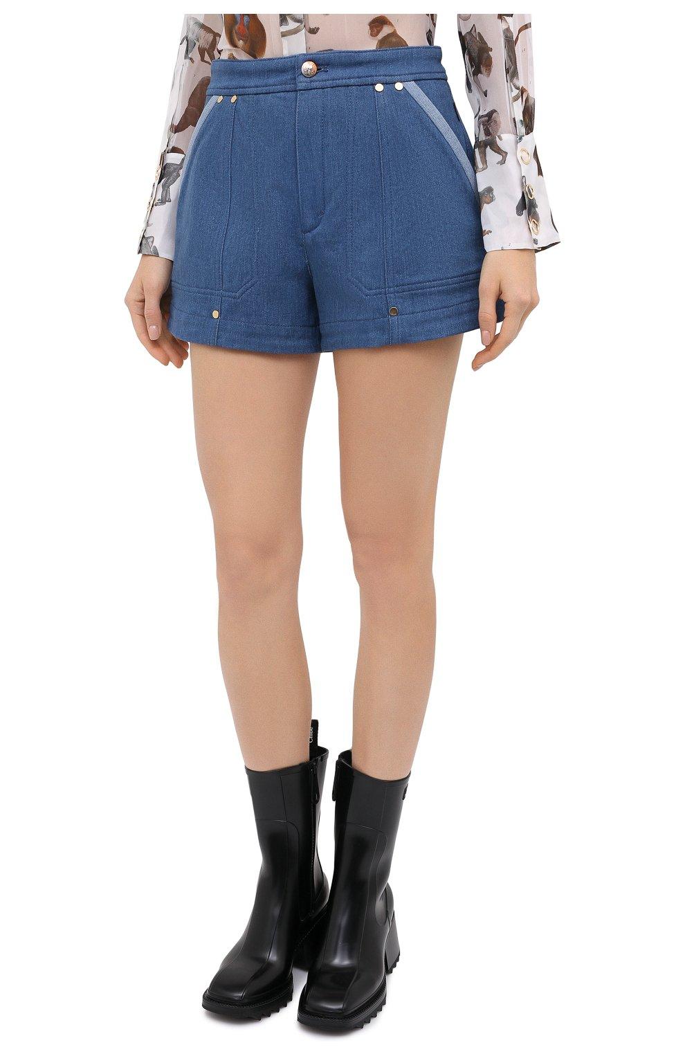 Женские джинсовые шорты CHLOÉ голубого цвета, арт. CHC20ADS05153 | Фото 4 (Женское Кросс-КТ: Шорты-одежда; Кросс-КТ: Деним; Длина Ж (юбки, платья, шорты): Мини; Материал внешний: Хлопок; Стили: Кэжуэл)
