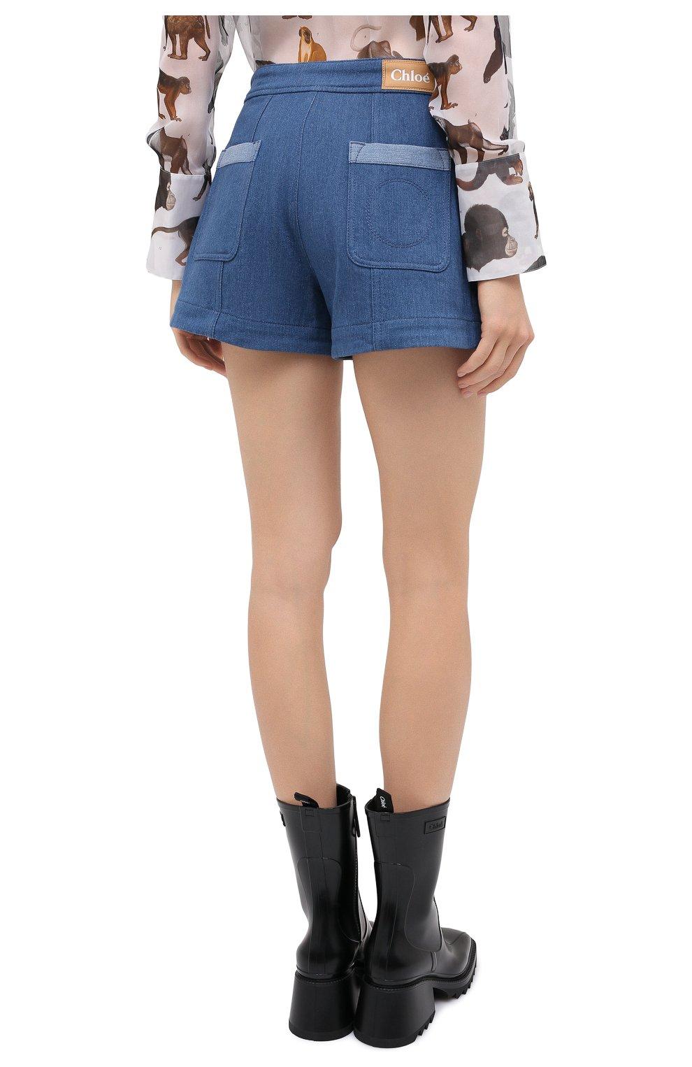 Женские джинсовые шорты CHLOÉ голубого цвета, арт. CHC20ADS05153 | Фото 5 (Женское Кросс-КТ: Шорты-одежда; Кросс-КТ: Деним; Длина Ж (юбки, платья, шорты): Мини; Материал внешний: Хлопок; Стили: Кэжуэл)