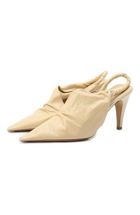 Женские кожаные туфли bv point BOTTEGA VENETA светло-бежевого цвета, арт. 630183/VBP10 | Фото 1