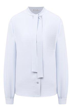 Женская шелковая блузка LORO PIANA голубого цвета, арт. FAL2970 | Фото 1