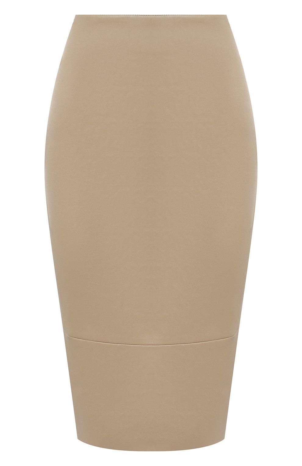 Женская кожаная юбка KITON бежевого цвета, арт. D50271X05S03 | Фото 1