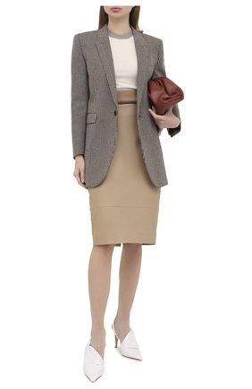 Женская кожаная юбка KITON бежевого цвета, арт. D50271X05S03 | Фото 2