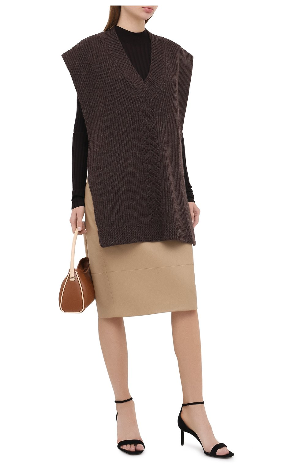 Женская кожаная юбка KITON бежевого цвета, арт. D50271X05S03 | Фото 3
