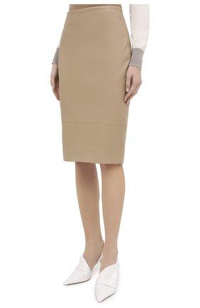 Женская кожаная юбка KITON бежевого цвета, арт. D50271X05S03 | Фото 4