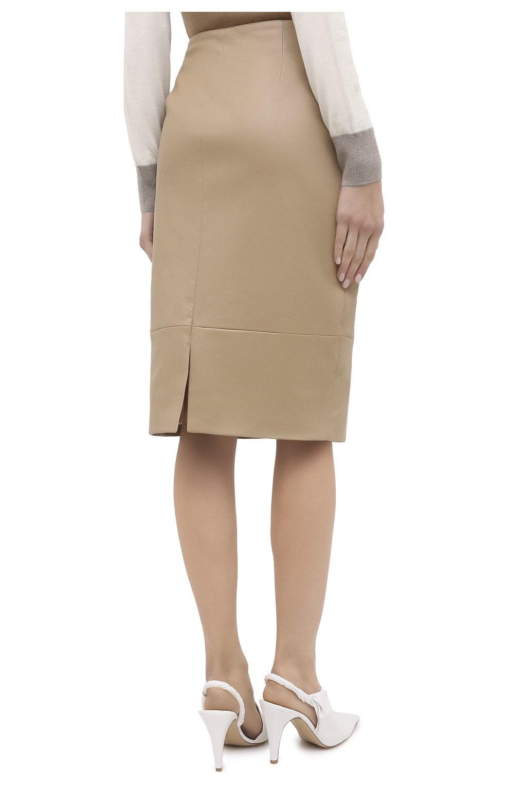 Женская кожаная юбка KITON бежевого цвета, арт. D50271X05S03 | Фото 5