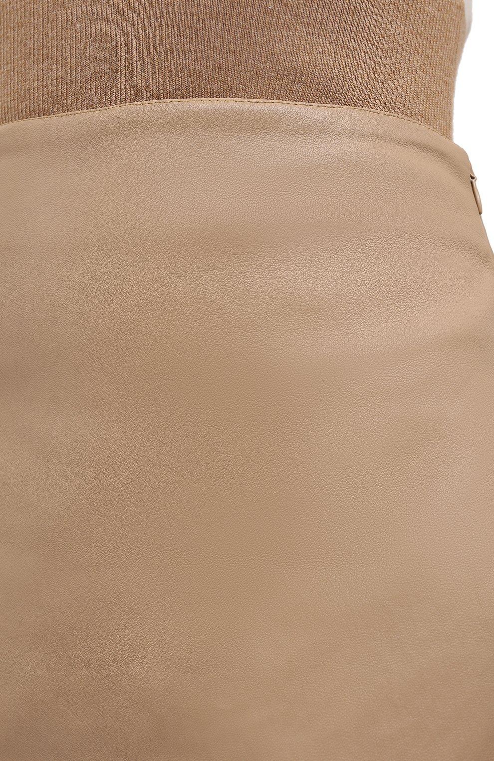 Женская кожаная юбка KITON бежевого цвета, арт. D50271X05S03 | Фото 6