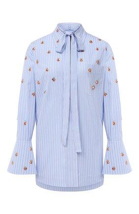 Женская хлопковая блузка VALENTINO голубого цвета, арт. UB3AB18E5K6   Фото 1