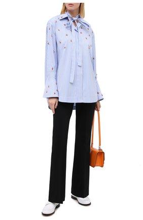 Женская хлопковая блузка VALENTINO голубого цвета, арт. UB3AB18E5K6   Фото 2