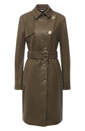 Женское кожаное пальто VERSACE хаки цвета, арт. A87172/A235638 | Фото 1
