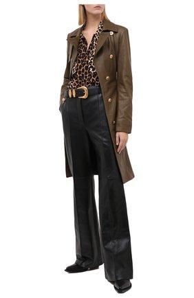 Женское кожаное пальто VERSACE хаки цвета, арт. A87172/A235638 | Фото 2
