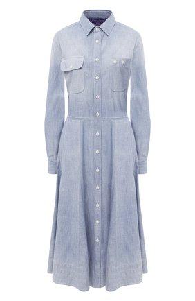 Женское хлопковое платье RALPH LAUREN синего цвета, арт. 290813129 | Фото 1