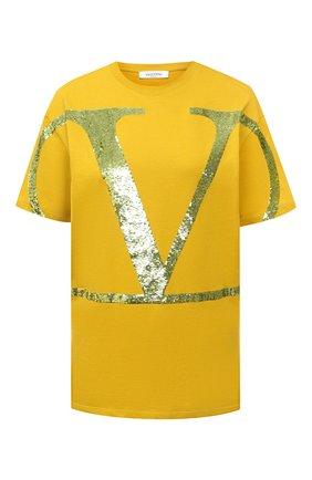 Женская хлопковая футболка VALENTINO желтого цвета, арт. UB3MG09A5UK | Фото 1