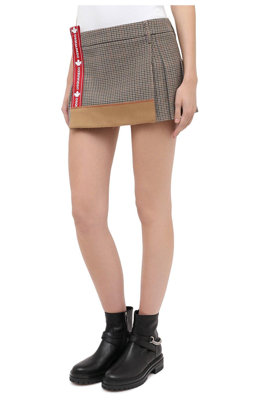 Женская шерстяная юбка DSQUARED2 бежевого цвета, арт. S75MA0748/S53030 | Фото 3
