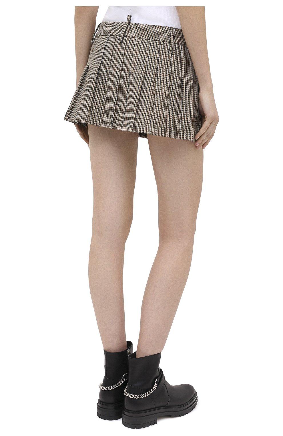 Женская шерстяная юбка DSQUARED2 бежевого цвета, арт. S75MA0748/S53030 | Фото 4