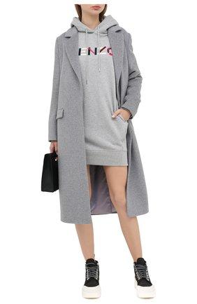 Женское хлопковое платье KENZO серого цвета, арт. FA62R07724M0 | Фото 2