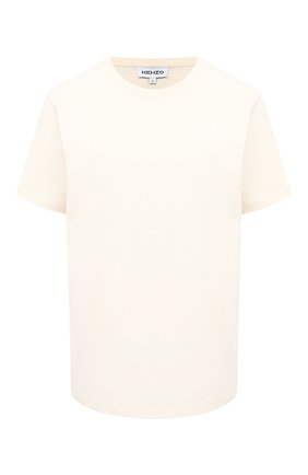Женская хлопковая футболка KENZO кремвого цвета, арт. FA62TS9104SK | Фото 1
