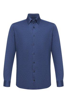 Мужская хлопковая рубашка ZILLI синего цвета, арт. MFU-64034-0001/0008 | Фото 1