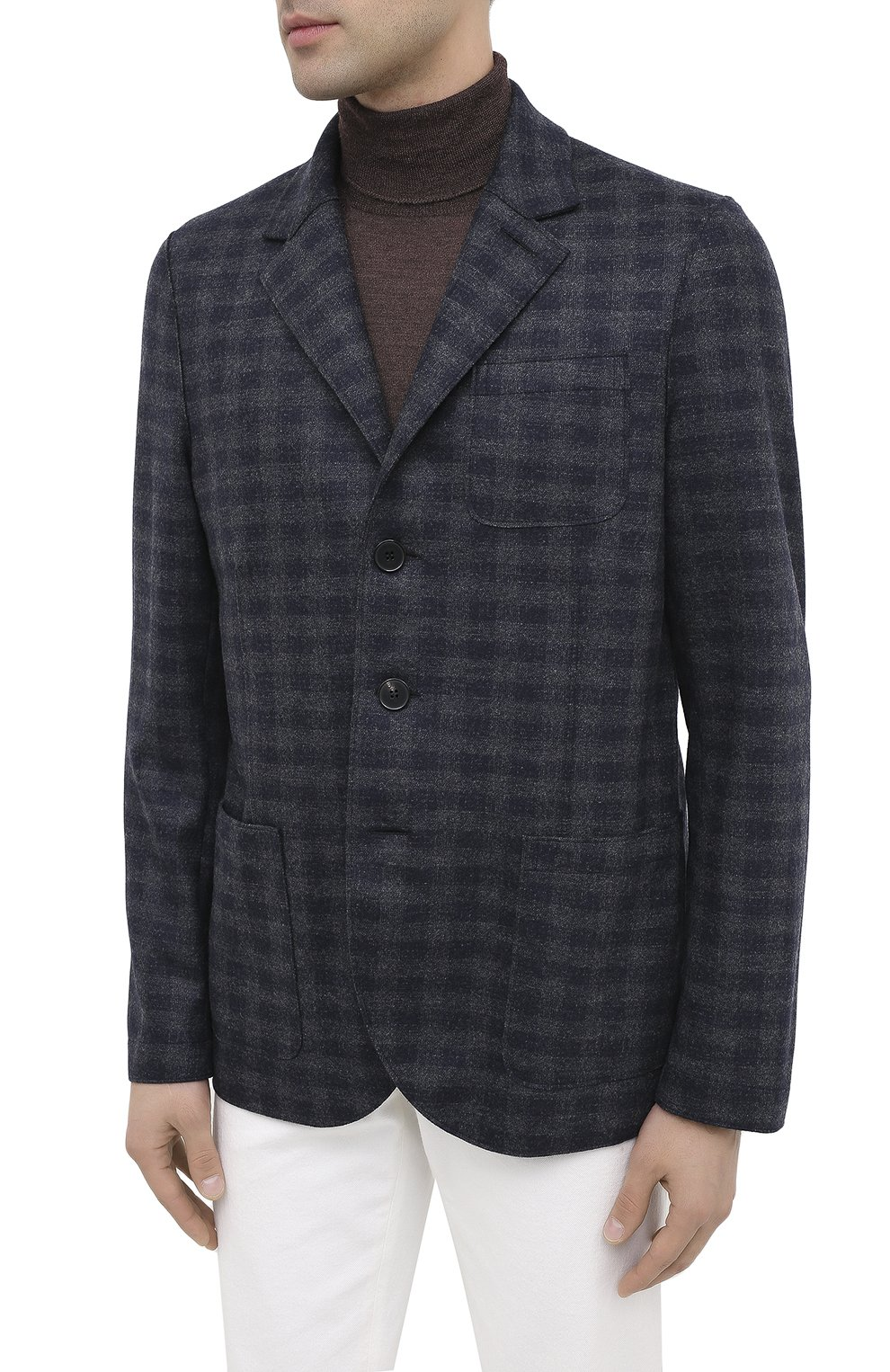 Мужской шерстяной пиджак HARRIS WHARF LONDON синего цвета, арт. C8B33MGK | Фото 3