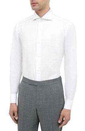 Мужская хлопковая сорочка LUIGI BORRELLI белого цвета, арт. EV08/FELICE/TS30035   Фото 2