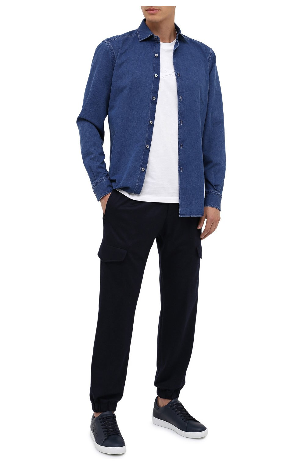 Мужская джинсовая рубашка ERMENEGILDO ZEGNA синего цвета, арт. UVX28/SRF5 | Фото 2