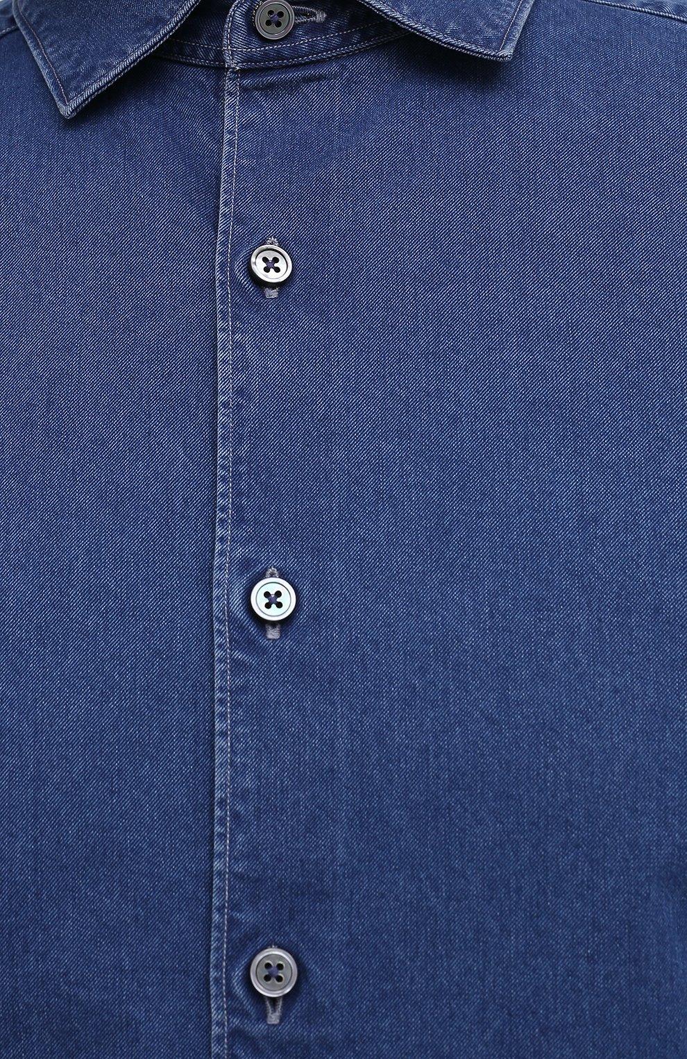 Мужская джинсовая рубашка ERMENEGILDO ZEGNA синего цвета, арт. UVX28/SRF5 | Фото 5