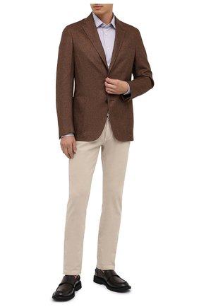 Мужская хлопковая сорочка ERMENEGILDO ZEGNA коричневого цвета, арт. 801026/9MS0PA | Фото 2