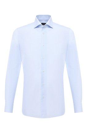 Мужская хлопковая сорочка ERMENEGILDO ZEGNA голубого цвета, арт. 801008/9MS0BA | Фото 1