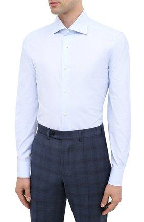 Мужская хлопковая сорочка ERMENEGILDO ZEGNA голубого цвета, арт. 801008/9MS0BA | Фото 2