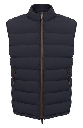 Мужской пуховый жилет ERMENEGILDO ZEGNA темно-синего цвета, арт. UVT35/V113B | Фото 1